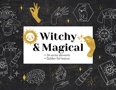Witchy and Magical - vector line art