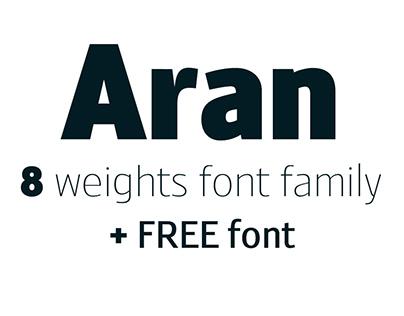 Aran - 8 weights font family + Free font