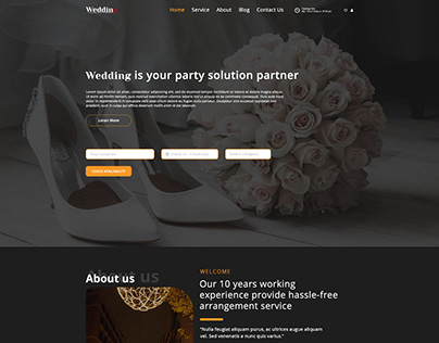 Wedding party arrangement agency web template
