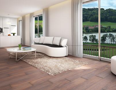 Riverside Kitchen Cum Living Room View of Switzerland