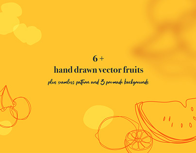 Hand Drawn Vector Fruits and Pattern