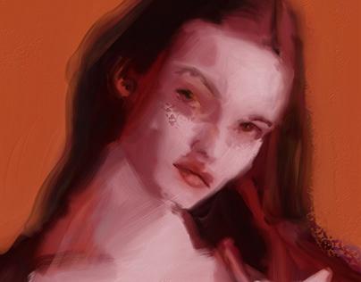 Portrait of lulu in orange pink