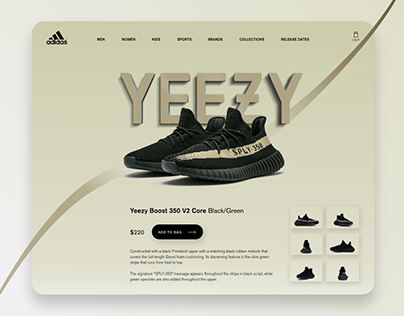 Adidas Yeezy Boost 350 V2 Core Black/Green Web UI
