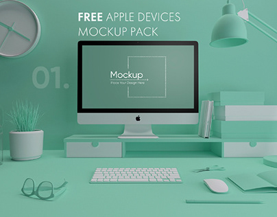 7 FREE COLORFUL APPLE DEVICES MOCKUP PACK