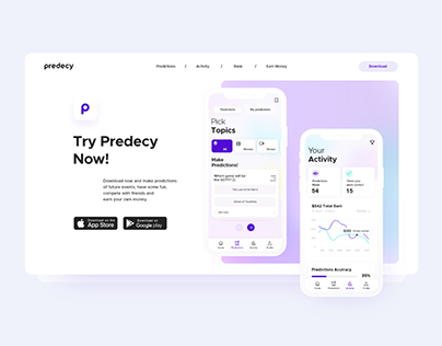 Predecy | Landing Page and Mobile App UX/UI (Freebie)