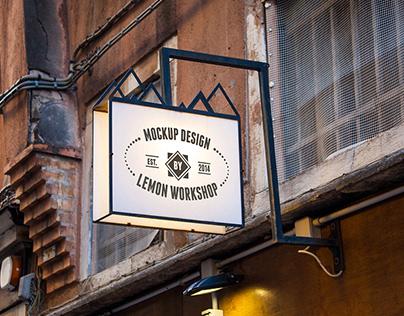 Logo Mockup Hanging Wall Sign