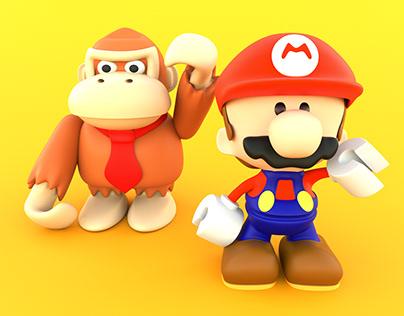 Mario vs Donkey Kong ilustración 3D