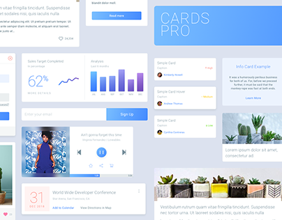 Cards Pro - Free Sketch UI Kit