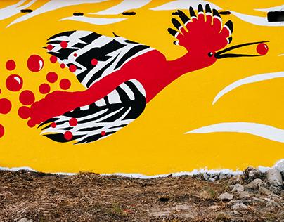 """Uma poupa na quinta"" (Mural)"