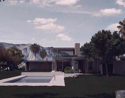 3D model + render. The Kaufmann House_Richard Neutra.