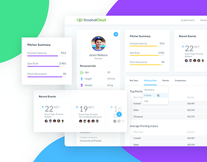 UI/UX Design for Sports Web app | Statistics and Data