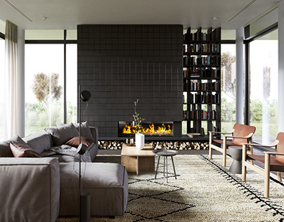 Modern living room in private house