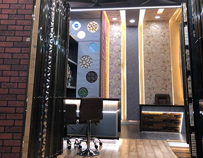Wallpaper and wooden flooring showroom