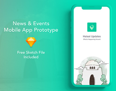 Location based news & events app. Free Sketch file
