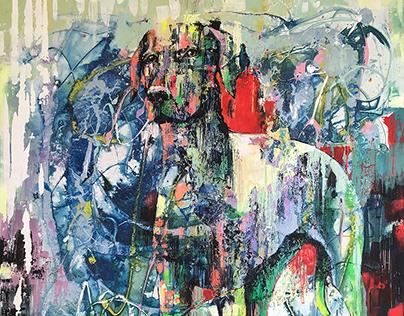 """DOG"" Acrylic Painting 80 x 100 cm"