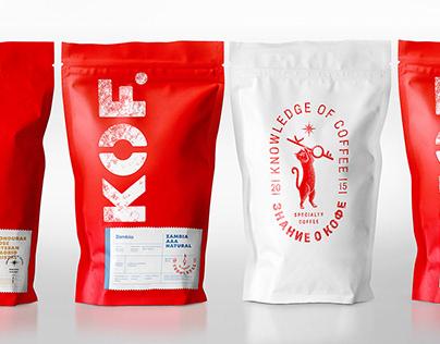 KOF — упаковка и маскот для бренда по обжарке кофе