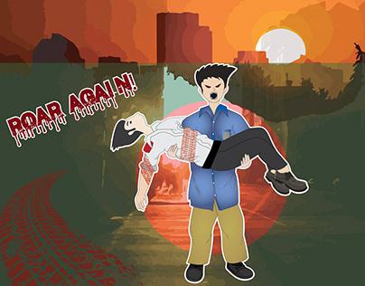 Digital Illustration on Safe Road Protest Bangladesh
