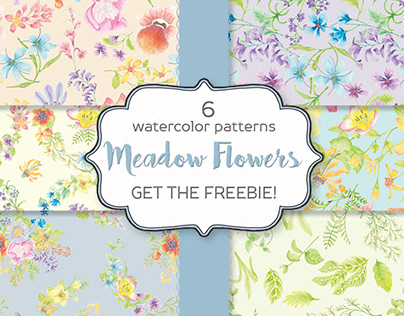 Watercolor patterns designed with meadow flowers
