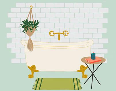 Vintage Clawfoot Tub   Simple Joys Illustration Series