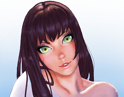 Digital Illustration-Green eyed Girl.