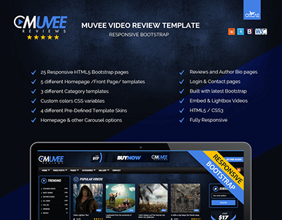 Muvee Review Resposive Bootstrap Template