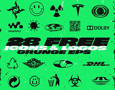 28 Free icons & logos grunge eps