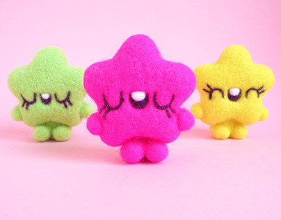 Stars - Pink Fluo, Lime and Yellow