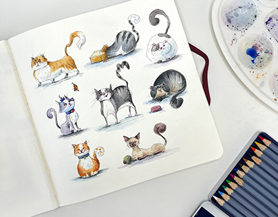 Character drawing in 15 minutes. Cats