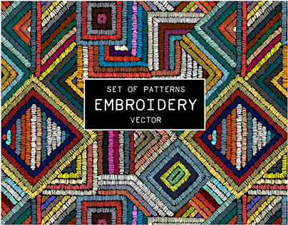 Set of embroidered seamless vector patterns.