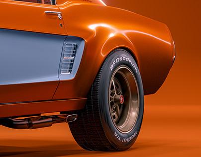 Hot Orange/Gulf Blue Mustang