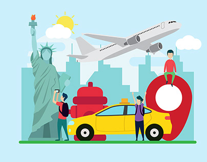 Travel to New York flat Illustration