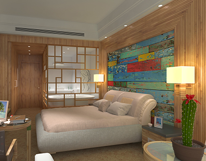 3d visualization of hotel room