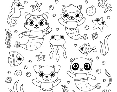 CUTE MERMAID ANIMALS COLORING PAGE
