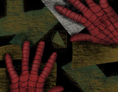 spider-man climb drawing