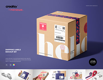 Noissue Shipping Labels Mockup Set