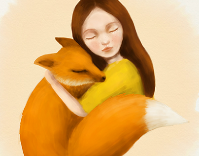Fox and a little girl | digital Illustration