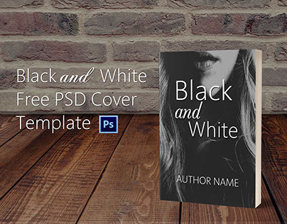 Black and White Free PSD Book Cover Template