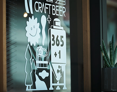 Decoration illustration for a craft beer brewery store