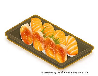 Japan salmon sushi food box set isometric illustration