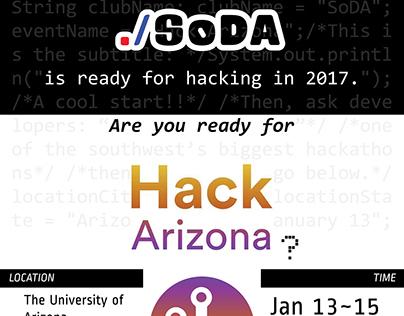SoDA's Hack Arizona 2017 Promotion Flyer