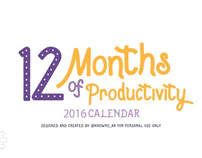 FREE 2016 Calendar , 12 Months of Productivity