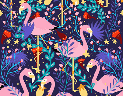 Flamingos in a forest