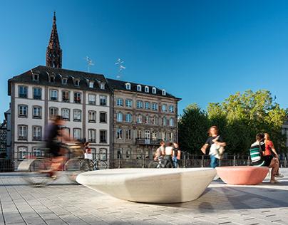 Nouveaux mobiliers urbains sur les quais strasbourgeois