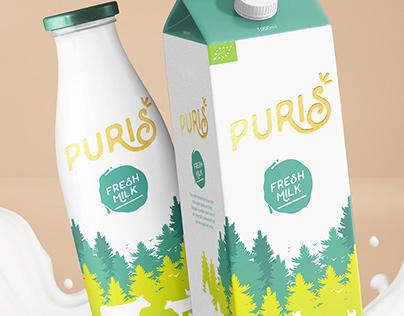 Puris Organic Milk | Naming, logo and packaging