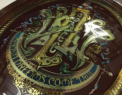 Reverse gilded glass sign - Disney