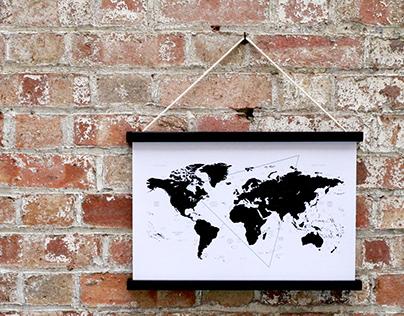 WORLD MAP A3 PRINT