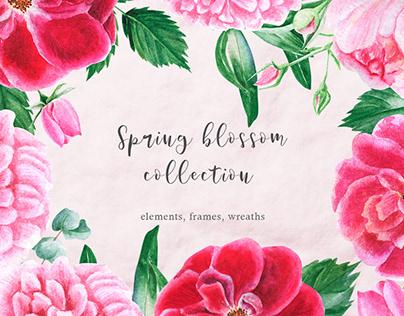 Spring blossom watercolor clipart
