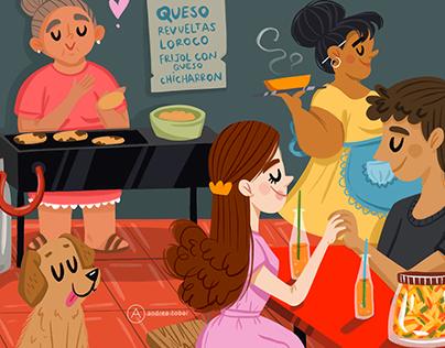 Pupusería illustration