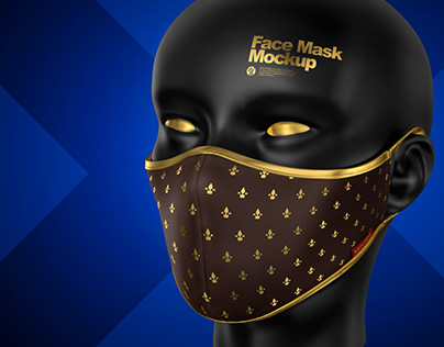 4 Face Mask PSD Mockups and PNG-images