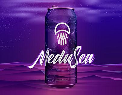 """Label & Logo design for """"MeduSea"""" energy drink"""